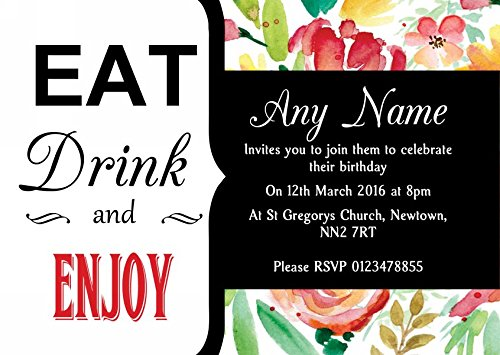 Eat Drink Pink Yellow Watercolour Flowers Personalized Birthday Party Invitations