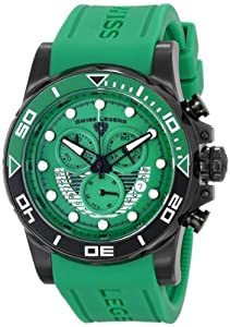 "Swiss Legend Men's 21368-BB-08 ""Avalanche"" Stainless Steel Watch with Green Silicone Band"