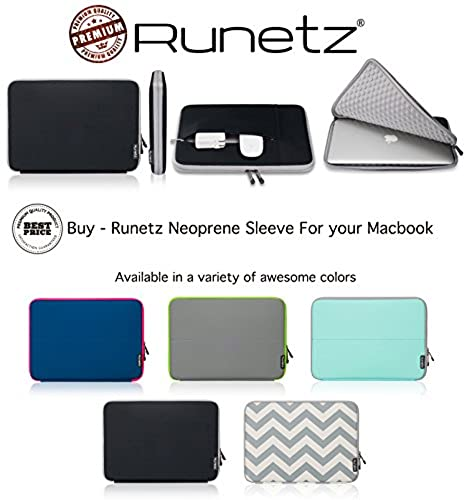 "01. Runetz - 12-inch BLACK Neoprene Sleeve Case Cover for The New MacBook 12"" with Retina Display and Laptop 12"" - Black-Gray"