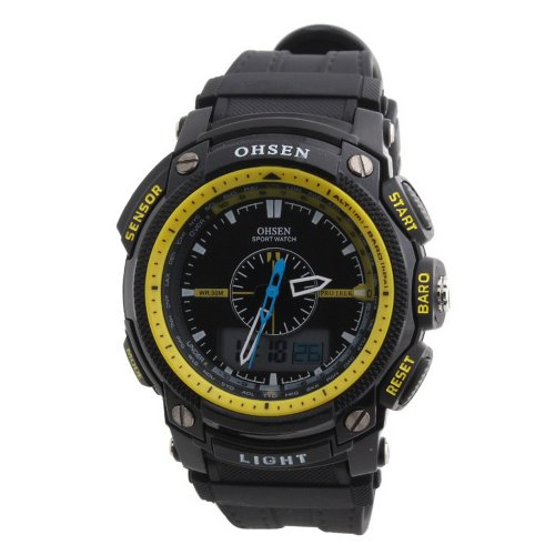 Ohsen Rubber Band Round Analog Unisex Sport Quartz Wrist Watch Yellow