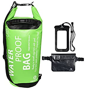 Set of 3 Premium Waterproof Bags -Dry Bag with Seals and Shoulder Strap, Waterproof Pouch with Waist Strap and Waterproof Phone Case (Green with Grab Handle, 20L)
