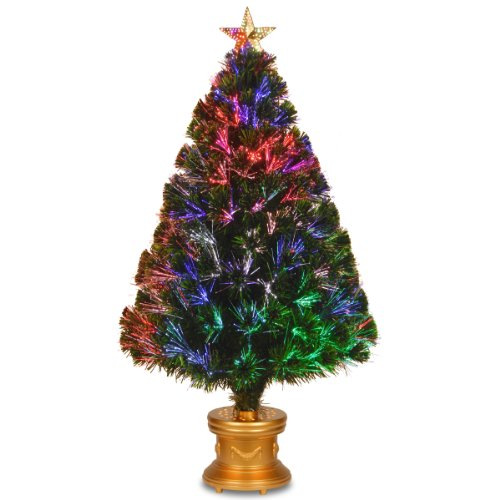 """National Tree Szex7-100R-48 Fiber Optic """"Evergreen"""" Firework Tree With Top Star And Gold Revolving Led Base, 48-Inch"""