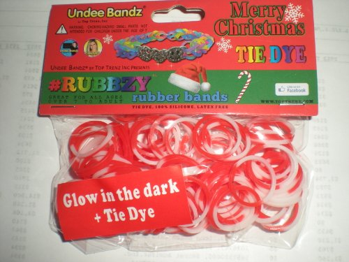 Rubbzy Christmas Red and White Glow in the Dark 100 Loose Rubber Bands
