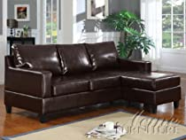 Big Sale ACME 15915A Vogue Reversible Chaise Sectional Sofa with Espresso Bonded Leather