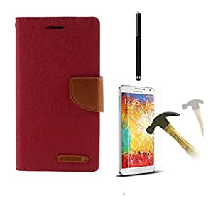 Relax And Shop Premium Flip Combo Pack For Samsung Galaxy CORE 2 GT355- (Pink Flip +Tempered+ Stylus)