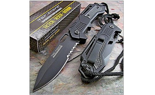 TAC-FORCE-Spring-Assisted-Opening-BLACK-Tactical-Rescue-Folding-Pocket-Knife-NEW
