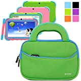 Evecase Neoprene Sleeve Case Bag for IRULU Y1 Kid Pad 7-inch Google Android 4.2 Tablet PC - Green with Handle and Accessory Pocket