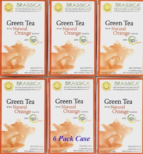 Brassica® Green W/Orange Tea W/Sgs~ 6 Boxes (96 Tea Bags)