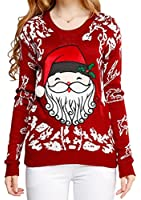 V28 Women Girl Christmas Cute Santa Embroidered Knitted Deer Pullover Sweater Jumper