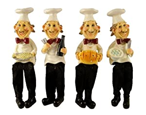 FOUR FUNNY BISTRO FAT CHEF SHELF SITTER #53075