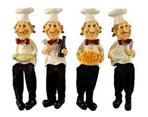 FOUR FUNNY BISTRO FAT CHEF SHELF SITTER #53075