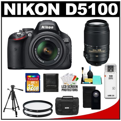 Nikon D5100 16.2 MP Digital SLR Camera & 18-55mm G VR DX AF-S Zoom Lens with 55-300mm VR Lens + 32GB Card + Case + (2) Filters + Remote + Tripod + Cleaning Kit