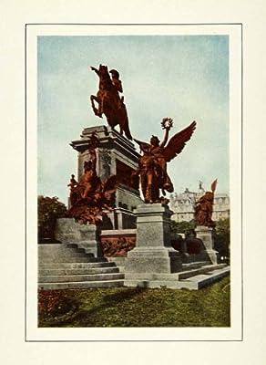 1917 Print Plaza Jose San Martin Buenos Aires Argentina Statue Equestrian Wreath - Original Color Print
