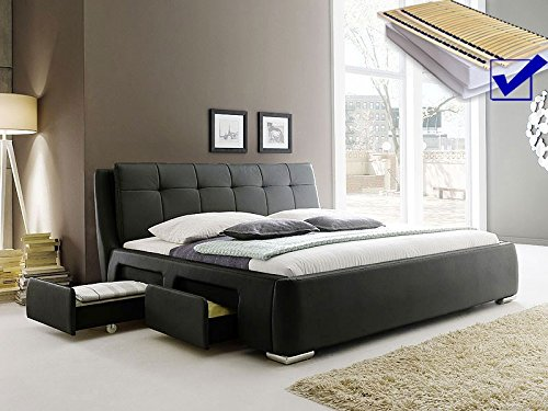 Polsterbett schwarz Bett 200×200 + Lattenrost + Matratze + Schubkasten Doppelbett Designerbett Alvaro online kaufen