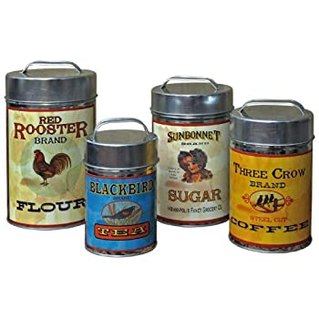 Vintage Canisters: Sugar, Flour, Coffee, Tea by Unknown