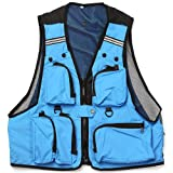 Multi Pockets Fishing Hunting Mesh Vest Mens Outdoor Leisure Jacket Blue Size XL
