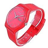 Epozz women Casual Rubber Band Simple Wrist Watch Waterproof red