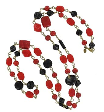 "38"" Black and Red Glass Bead Necklace on Hand Wrapped Wire with a Lobster Clasp"
