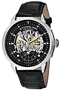 """Stuhrling Original Men's 133.33151 """"Executive"""" Stainless Steel Automatic Watch with Black Leather Band"""