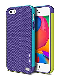 iPhone 5S Case, ELOVEN(TM) Ultra Slim 3 Color Hybrid Dual Layer Shockproof Case [Extra Front Raised Lip] Soft TPU & Hard PC Bumper Protective Case Cover for Apple iPhone 5S/5 - Purple