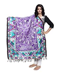 IndiWeaves Women Bhagalpuri/Tussar Silk Digital Print Purple Dupatta