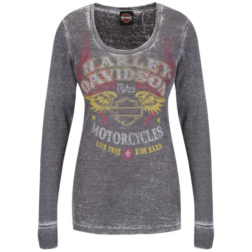 Harley-Davidson Womens Classic Redemption B&S Wings Burnout Thermal X-Large