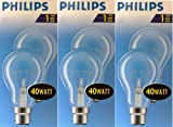 6 x Philps A55 40 Watt GLS Incandescent Light Bulbs in Bayonet B22 Cap Clear Glass Finish 240 volt
