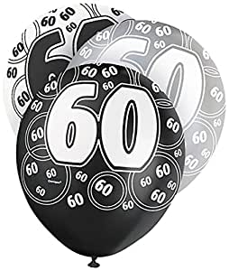 """12"""" Glitz Black and Silver Latex 60th Birthday Balloons, Pack of 6"""