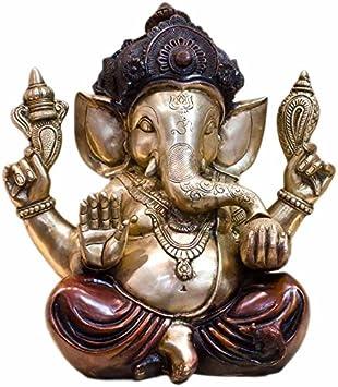 """Statuestudio Ganesh Idols Brass Chaturbhuja 15"""" Red"""