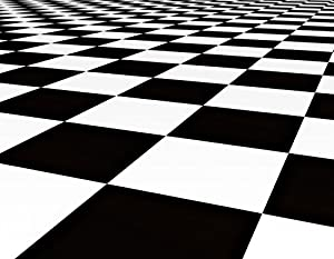 Black and White Checker Floor Background Pattern Wall Decal - 36 Inches W x 28 Inches H - Peel and Stick Removable Graphic