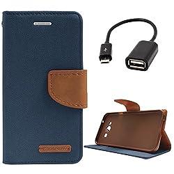 DMG Premium Canvas Diary Wallet Folio Book Cover for Samsung Galaxy J7 J700 (Pebble Blue) + USB OTG