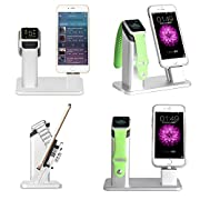 Apple Watch Stand,ziku Aluminum Charging Stand Dock Station Cradle Holder for Apple Watch&iPhone-- Support Apple Watch NightStand Mode and iPhone SE/5/5s/6/6S/PLUS with Various Case(Brilliant Silver )