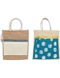 Cristal Bags Jute Shopping Bags (Pack Of 2, Jute-632)