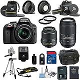 Nikon D3300 Black Camera with Nikon 18-55mm VR Lens Al's Variety Premium Bundle with Deluxe + Nikon 55-300MM VR Zoom Lens + Gadget Bag + 2Pc Filter Kit + XIT Wide Angle Lens + XIT Telephoto Lens + Tripod + 32GB Bandwidth Memory Card + 15pc Accessory Bundle Kit