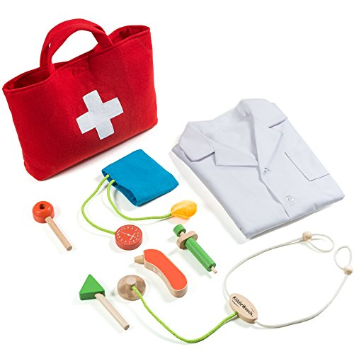 Kiddie Woods Wooden Toy Doctor Kit for Kids, Pretend Medical Play Set for Boys and Girls, Educational for Children & Older Toddlers (Blood Pressure Kit For Kids compare prices)