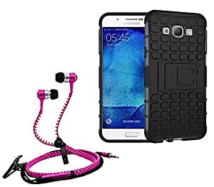 Droit Shock Proof Protective Bumper back case with Flip Kick Stand for Samsung A510 + Stylish zipper hand free for all smart phones by Droit Store.