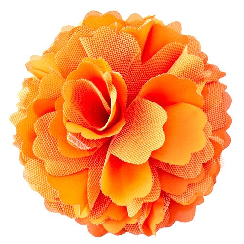 Orange Fabric Rosette Brooch/Hair Clip with Pin and Clip Backing - Approx. 5