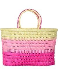 UTSAV KRAFT Palm Leaves Pink & Beige Shopping Basket