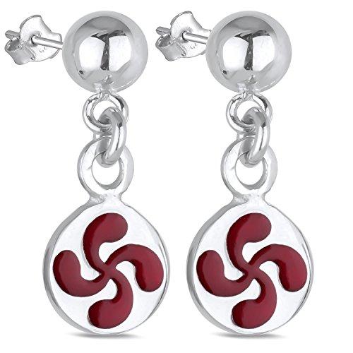 Adens-Jewels-Bijoux-Basques-Croix-Basque-Boucles-doreille-Argent-Femme-Emaill-Rouge-Dimension-Longueur-22mm-Diamtre-10mm
