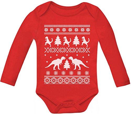 Teestars - Ugly Christmas Sweater Trex Baby Long Sleeve Onesie 9 - 12 Months Red
