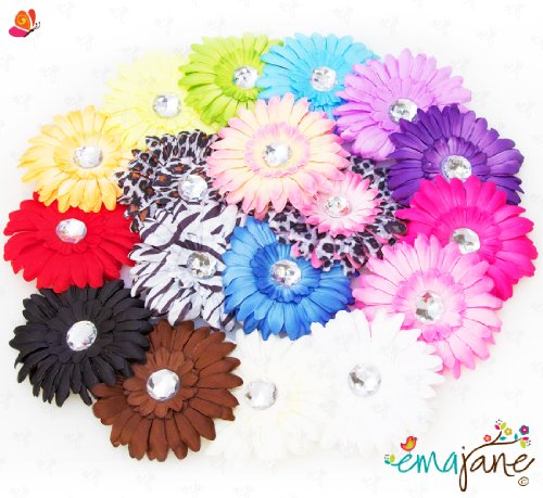 Ema Jane - Large Gerber Daisy Flower Hair Clips Only (16 Flowers, Headbands NOT Included) - Will Fit Infants, Baby, Toddlers, Girls, Youth, Newborn