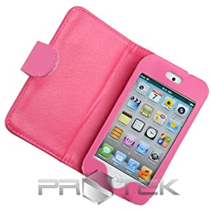 Hot Pink Leather Folio Folding Case Cover w/ Screen Protector Films for Apple iPod Touch 4th Gen Generation 4G 8GB 32GB 64GB