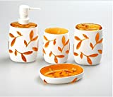 Luxury New Acrylic White Sunflowers Set of 4 Ensemble Bath Accessories Set (Orange)