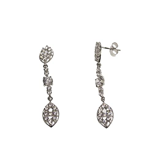 Earrings long bride in law and White Gold Zirconia