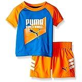 PUMA Baby Boys' Short Sleeve Tee and Short Set, Orange Blue, 6/9M