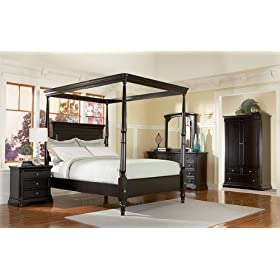 5pc Sahara Espresso Finish California King Canopy Bedroom Set