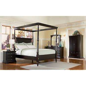 5pc Sahara Espresso Finish Queen Size Canopy Poster Bedroom Set