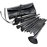 FASH Cosmetics Professional 24 Pcs Natural Cosmetic Brush Set with Black Roll-Up Pouch