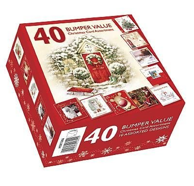 Christmas Cards - Bumper Box 40 Assorted Xmas Cards - 10 Designs Cute & Traditional
