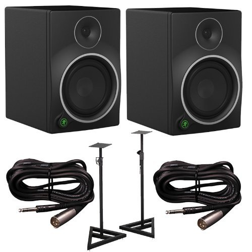 Mackie MR8mk3 8in. Active Studio Monitors (Pair) with Stands and Cables Bundle (Studio Monitors 8 Package compare prices)